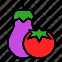 bbq, eggplant, grilled, tomato, vegetable