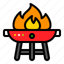 barbecue grill, bbq, fire, grilled icon