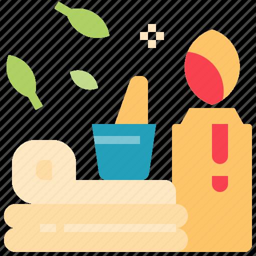 aromatherapy, beauty, candle, set, spa, treatment icon