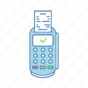 check, credit card, paper check, payment, pos terminal, receipt, terminal icon