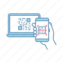 app, barcode, laptop, qr code, scanning, smartphone, synchronization icon