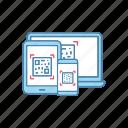 app, laptop, qr code, scanner, scanning, smartphone, tablet icon