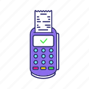 check, credit card, paper check, payment, pos terminal, receipt, termina icon