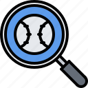 ball, baseball, magnifier, match, player, search, sport icon