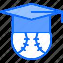baseball, cap, education, graduation, match, player, sport