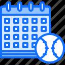 ball, baseball, calendar, date, match, player, sport icon