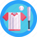 jersey, ball, bat, baseball gear, baseball, sports wear icon