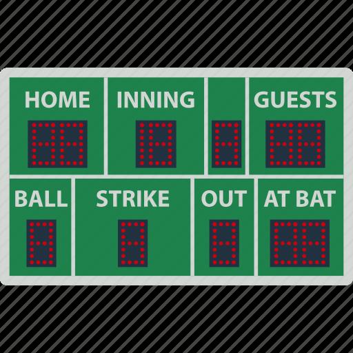 baseball, design, display, game, score, scoreboard, sport icon