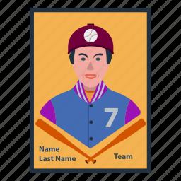 baseball, card, design, game, player, retro, sport icon
