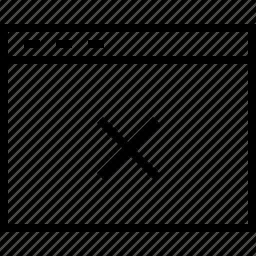 browser, close, cross, delete, exit, remove icon