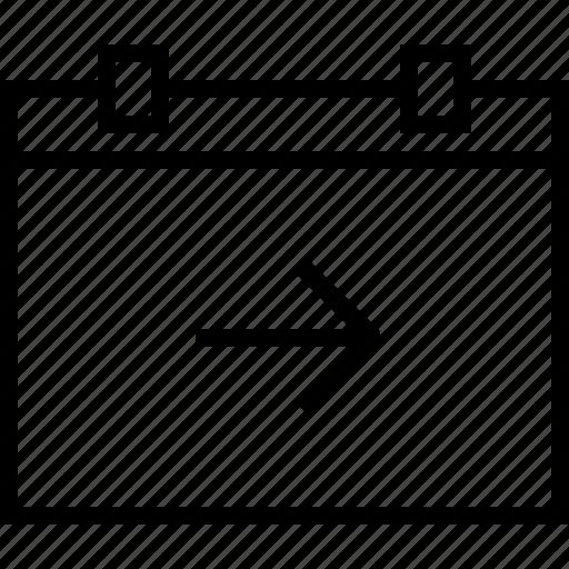 arrow, calendar, forward, move, next, right icon