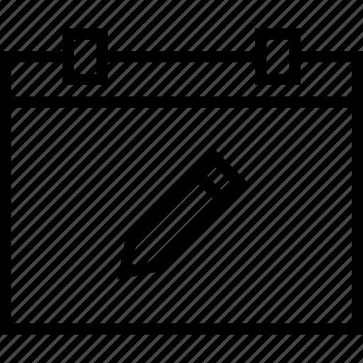 calendar, pencil icon