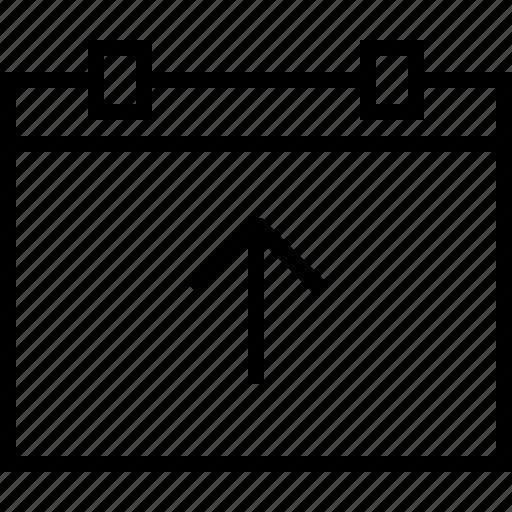 arrow, calendar, date, up, upload icon