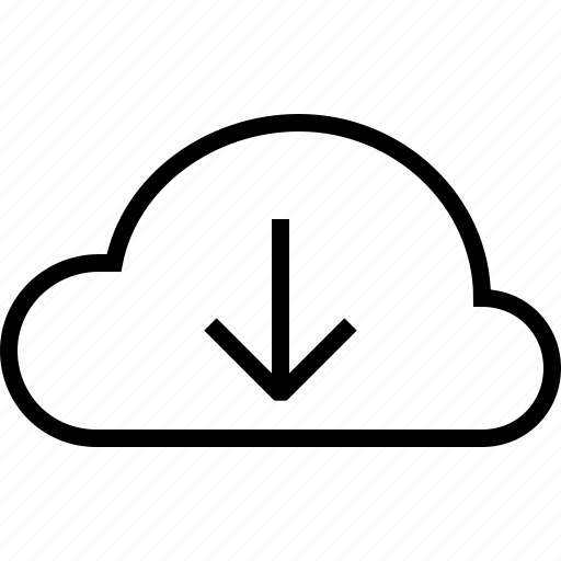 arrow, cloud, down, download, forecast, weather icon