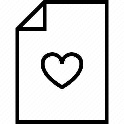 document, documents, file, format, heart, love icon