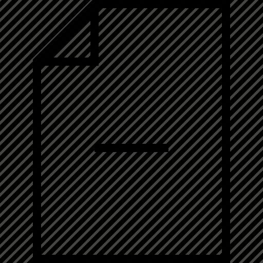 document, file, folder, minus, page, paper icon