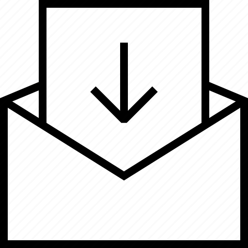 arrow, down, download, email, mail, message icon