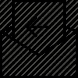 arrow, back, envelope, mail, message, previous icon