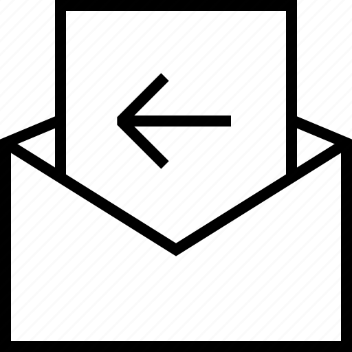 arrow, back, envelope, mail, message, previous icon
