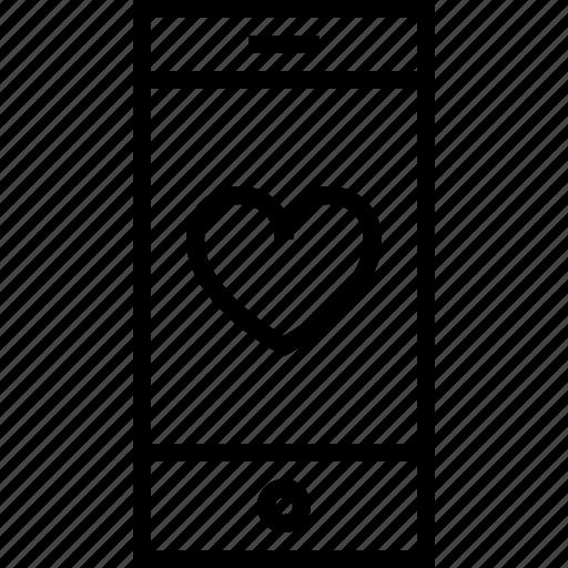 bookmark, favorite, heart, like, love, smartphone icon