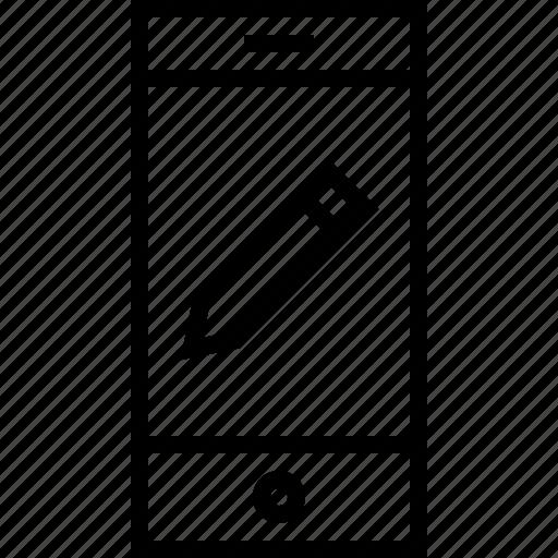 pencil, smartphone icon