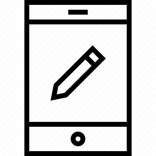 pencil, tablet icon