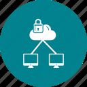 cloud, lcd, lock icon