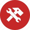 hammer, setting, tools, wrench icon