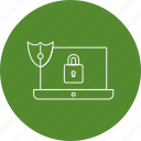laptop, lock, protect, shield icon