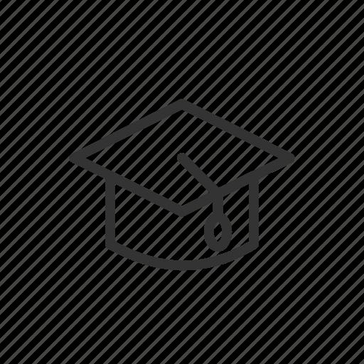 cap, education, graduate, minimalist, ui, ux icon
