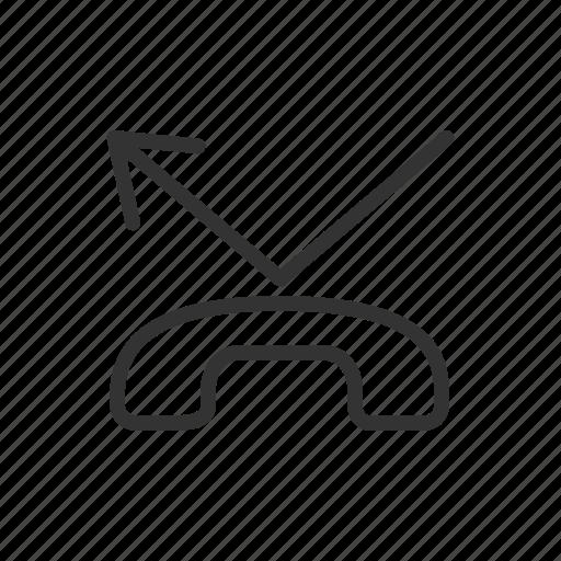 log, minimalist, miscall, phone, reject, ui, ux icon