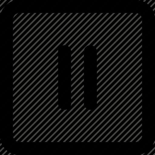media, pause, paused, square icon