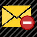 delete, email, envelope, letter, minus, remove, trash icon