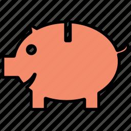 coin, money, pig, piggy bank, saving icon icon
