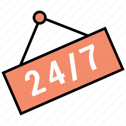24/7, availability, customer, hour, hours, service icon