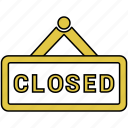 closed, restaurant, sign, tag icon