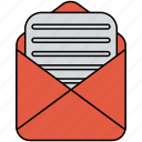 document, email, envelope, mail, open icon