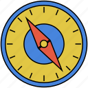 compass, compass rose, magnetic compass, navigational icon