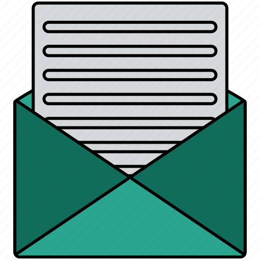 document, email, envelope, mail, message, open, text icon