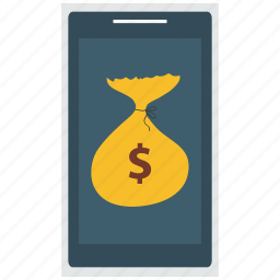 $, dollar, mobile, phone, smartphone icon icon