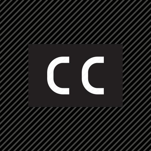 cc, lyric, media, player, subtitle, text, video icon