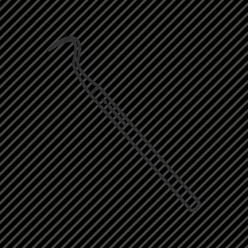 curved probe blunt, investigating tool, medical tool, probe, probe blunt, slender rod, tool icon