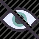 eye, retina, slash, visible icon
