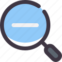 find, minus, search, zoom icon