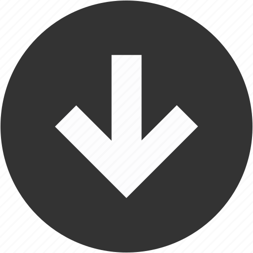 arrow, arrows, circle, down, download, downward, guardar, save icon
