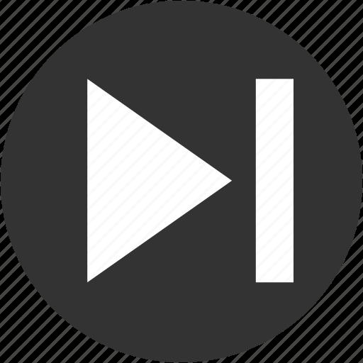arrow, circle, end, forward, last, next, play forward icon