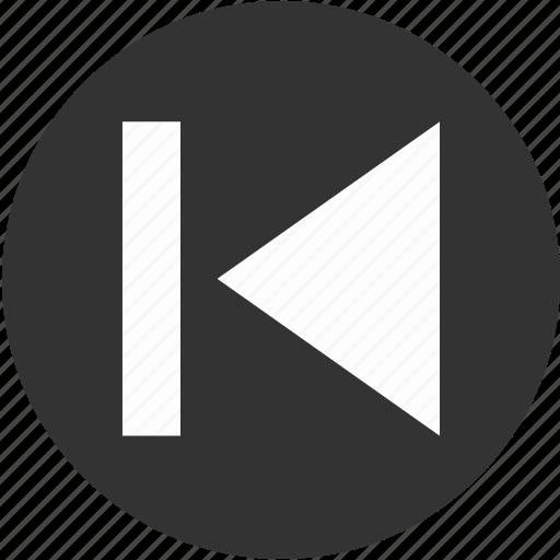 arrow, backward, circle, control, direction, first, previous icon