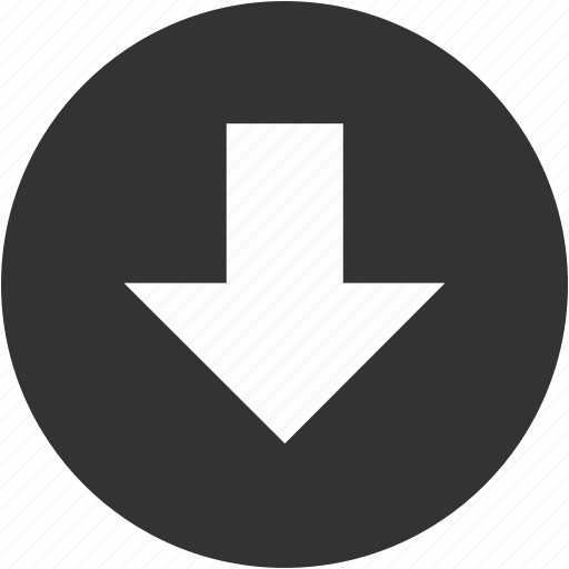arrow, bottom, circle, down, download, downward, save icon