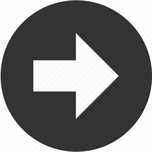 ahead, arrow, circle, forward, front, right icon