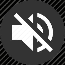 circle, music, mute, off, sound, speaker, volume icon